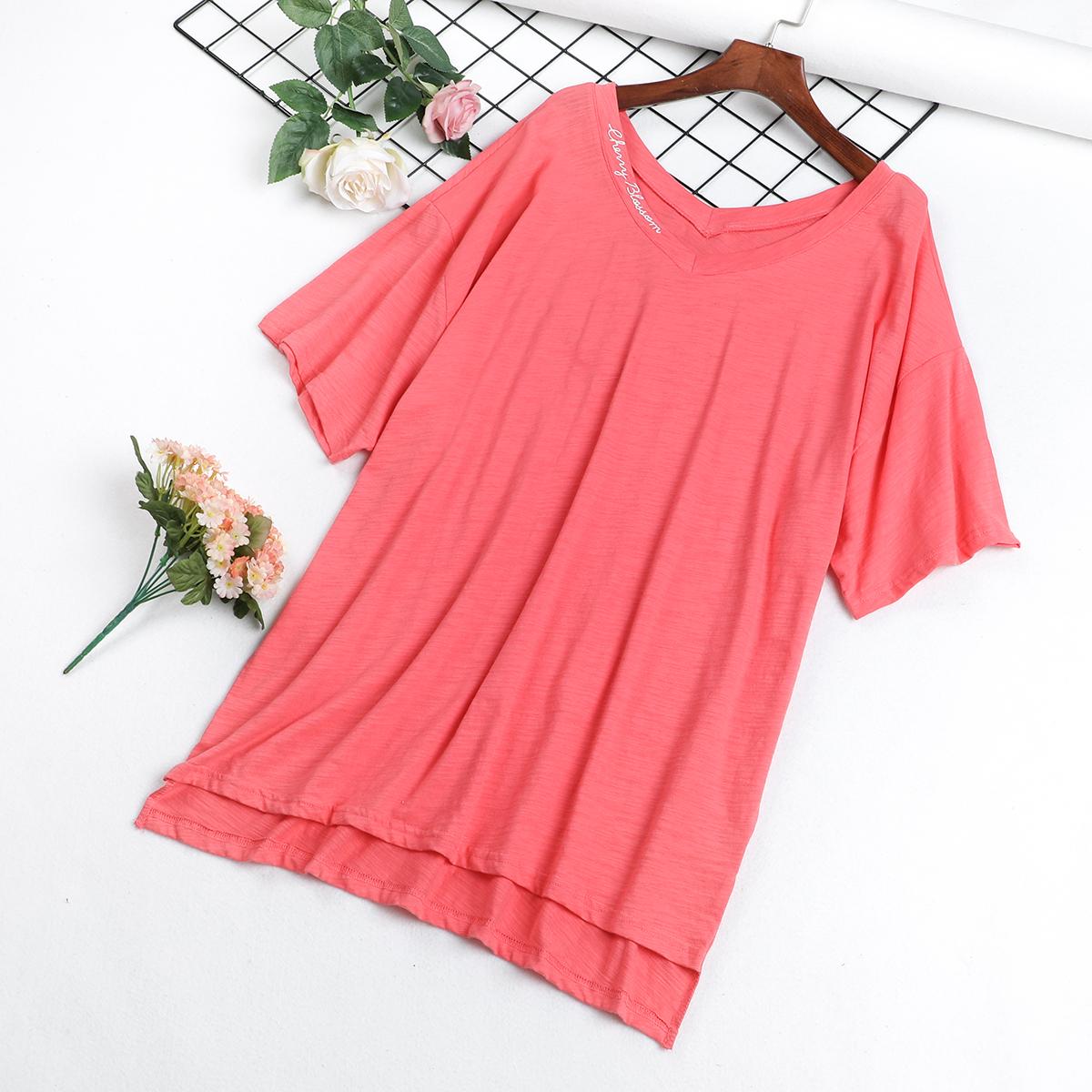 R5 mùa hè mới Hàn Quốc phiên bản của bức thư thêu ngắn tay V-Cổ lỏng t-shirt nữ dài trước khi ngắn dài áo đa năng thủy triều