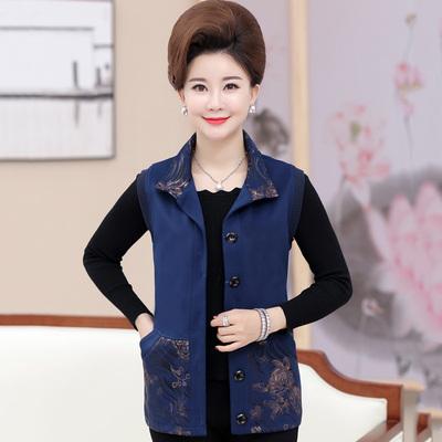 Phụ nữ trung niên áo ghi lê mùa xuân và mùa thu đoạn ngắn bà ngoại vest áo khoác người mẹ già nạp mùa xuân ve áo vest Áo vest