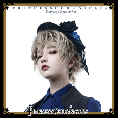 taobao agent 【PC original design】+Black and blue+Gothic lolita hand-made gay flat top hat little prince hat