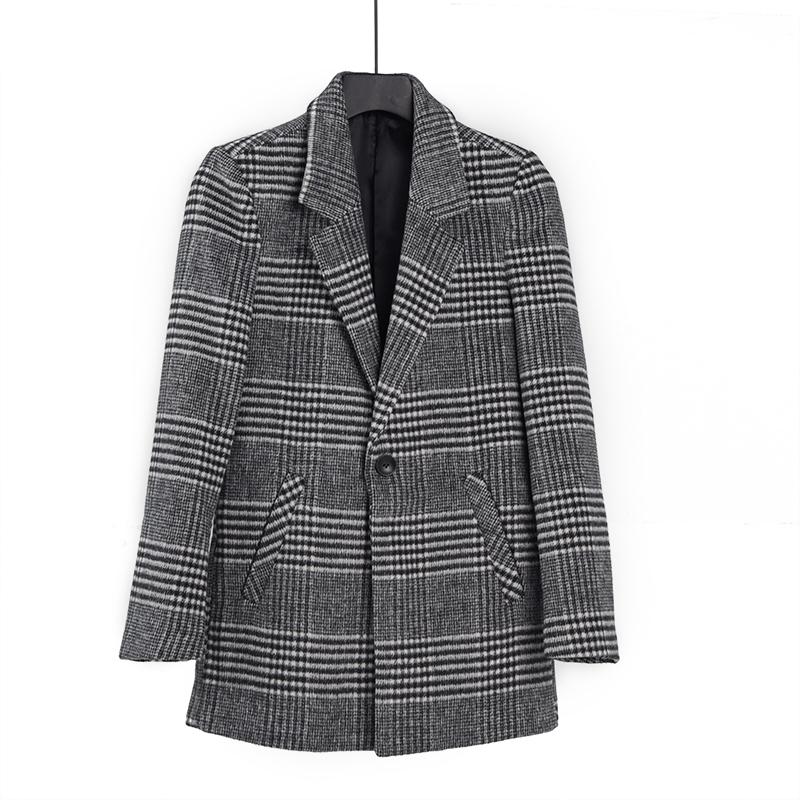 Khuyến mại đặc biệt Áo len nam Áo khoác len kẻ sọc mỏng Mid-Long Suit nam Đen và trắng rô k - Áo len