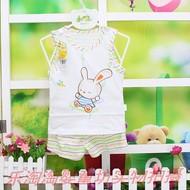 Bị hỏng mã chế biến thân thiện với trái tim Beibei trẻ em mùa hè cotton vest quần short phù hợp với bé bông vest phù hợp với siêu mỏng