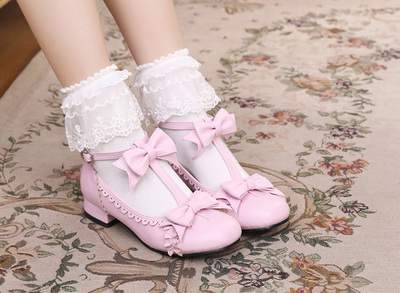 42agent Original Japanese Lolita soft sister jk round head bow thick with sweet lace cute loli daily women's shoes - Taobao