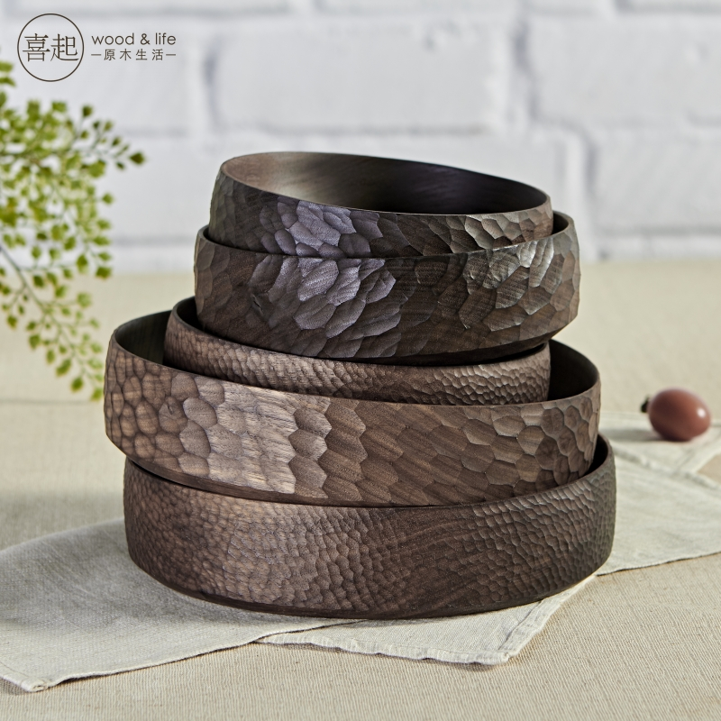 Hi walnut gỗ gỗ rắn vòng tấm gỗ handmade sáng tạo toàn bộ trái cây bát đĩa trái cây đồ ăn nhẹ trái cây sấy khô tấm