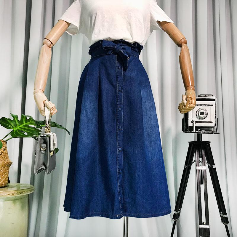G 23 retro tính khí đơn ngực đàn hồi dây đeo thắt lưng váy trong phần dài cao eo slim denim váy nữ