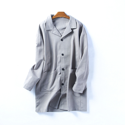 35492 mùa xuân và mùa thu người đàn ông mới của nghệ thuật văn học ve áo nhỏ thẳng màu rắn đa năng áo khoác trong phần dài áo gió May 30