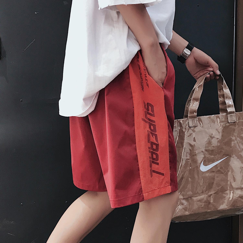 Chất thải gỗ đến một lần nữa chic cổng gió Harajuku xu hướng hoang dã lỏng lẻo năm quần quần màu in thư quần short nữ