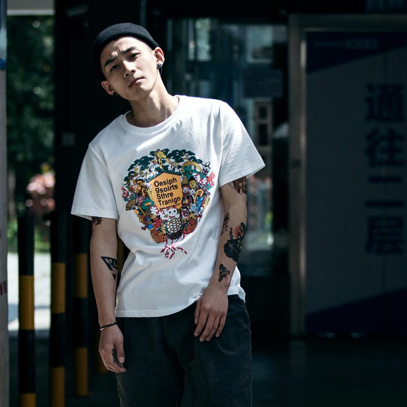 BDCT 日系复古个性短袖男潮 夏季港风潮男宽松创意印花圆领T恤