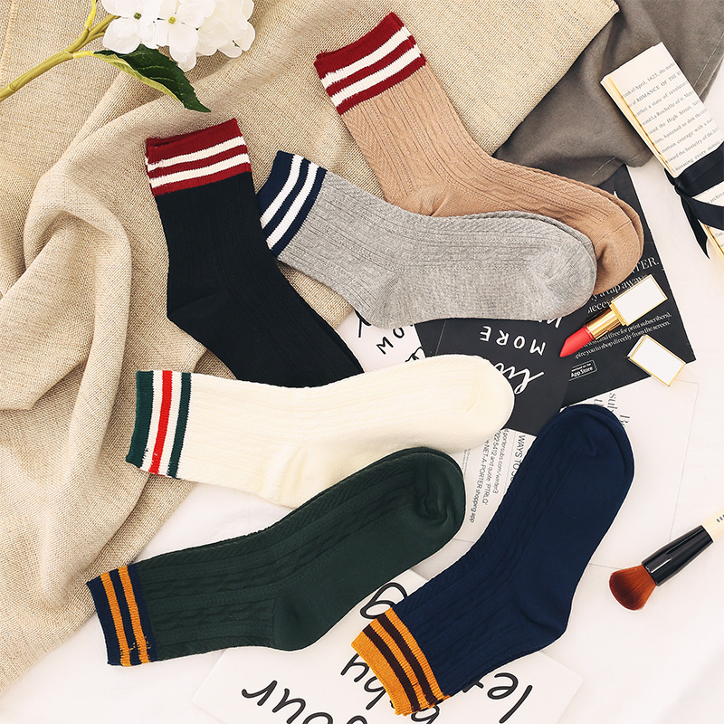 4双装女士袜子中筒棉袜秋冬运动韩版堆堆袜学院风加厚保暖百搭潮