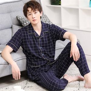 Mùa hè người đàn ông trung niên của quần mỏng cotton đồ ngủ đặt ngắn tay cotton nửa tay béo quần áo nhà XL