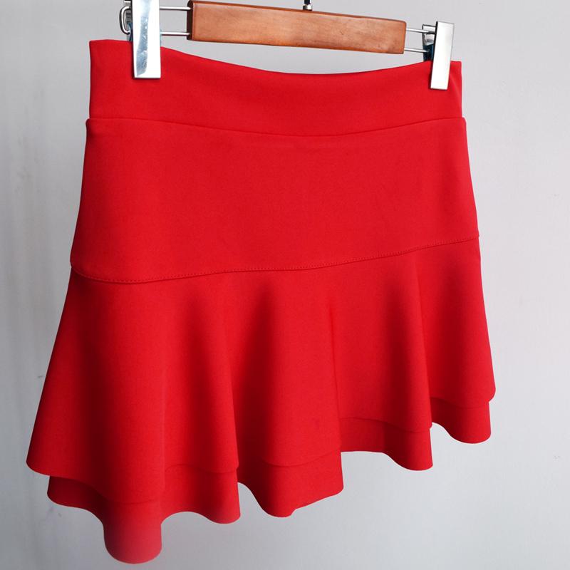 水兵舞裙子女夏大摆裙半身裙广场舞服装跳舞红色舞蹈蛋糕短裙裤裙