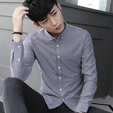 #81252衬衫条纹修身基础款男寸衫全棉潮流衬衣上衣长袖 衬衣