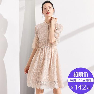 [Giá mới 149 nhân dân tệ] 2018 mùa hè cổ áo cổ áo trumpet tay áo đầm ren eo Một từ váy váy cổ tích Sản phẩm HOT