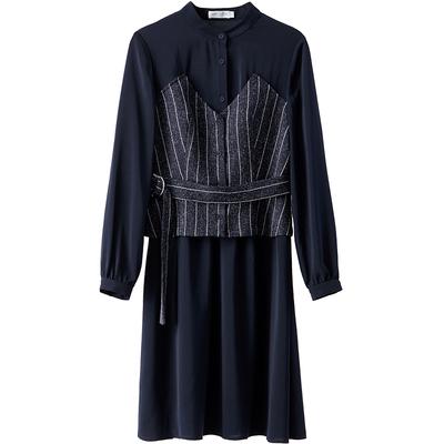 [Giá mới 149 nhân dân tệ] 2018 mùa xuân khâu hit màu eo sọc đầm retro tính khí trong váy dài Sản phẩm HOT