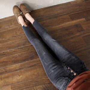 1032#实拍2018春新款高腰裤脚不规则阶梯弹力排扣九分牛仔小脚裤