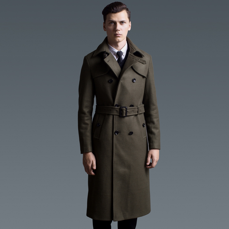 MENS MILITARY WOOL BLEND TRENCH LONG COAT BELT DOUBLE BREASTED WOOL ...