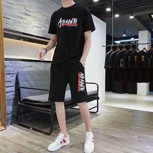 2019新款男t恤短袖套装韩版潮流
