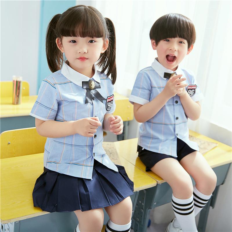 Mẫu giáo vườn ăn mặc mùa hè bông đồng phục học sinh phù hợp với gió Anh học sinh ngắn tay trẻ em mùa hè của lớp dịch vụ tùy chỉnh