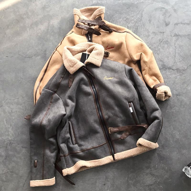 Mùa thu và mùa đông mới Áo khoác da cừu Nhật Bản quần áo cotton nam thương hiệu hip-hop cộng với nhung lỏng đẹp trai áo khoác cotton giản dị - Trang phục Couple