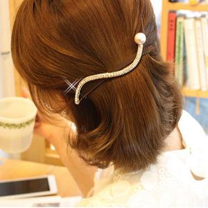 水钻发夹弹簧夹一字夹马尾夹卡子水钻大珍珠横夹发饰发卡