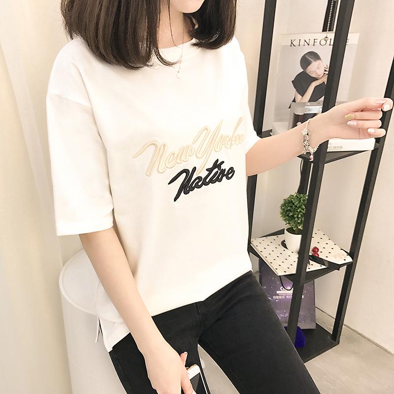 1740#实拍2017新款短袖t恤女韩版学生百搭时尚夏季打底衫体恤女装