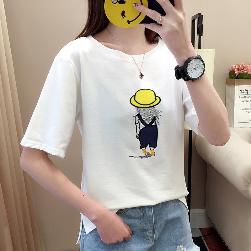 122#夏实拍2018年夏新款韩版宽松短袖小人儿图案白色t恤女打底衫