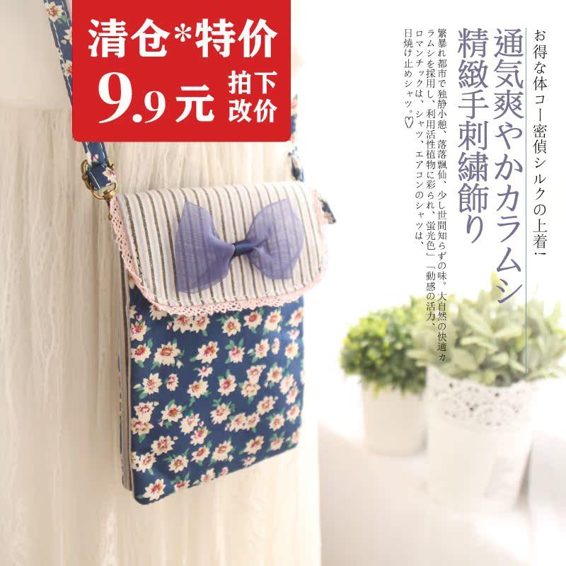 Giải phóng mặt bằng khuyến mãi 6 inch nhỏ tươi chéo túi điện thoại di động Hàn Quốc cotton linen art apple 7 splus túi Messenger nhỏ