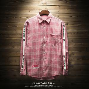 秋装新品长袖格子衬衫青少年小清新休闲男日系潮男C01 P55