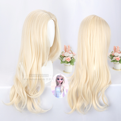 taobao agent Fenner, milky blonde long hair, Frozen 2 Aisha Elsa hair / hair long scalp cos wig