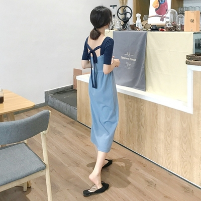 复古优雅chic初恋少女心机露背连衣裙夏季sukol...