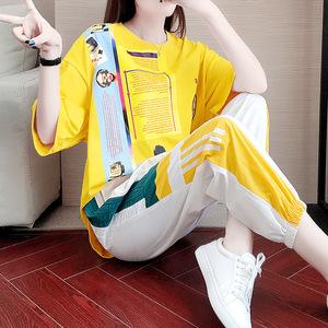 2020新款韩版宽松休闲微胖显瘦运动服两件套大码时尚运动套装女夏