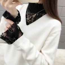 半高领打底衫女蕾丝拼接针织衫新款毛衣