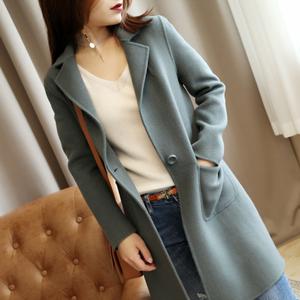 Giải phóng mặt bằng chống mùa, một nút, mỏng và mỏng! Hai mặt làm bằng tay len cashmere áo khoác nữ mùa thu và mùa đông áo len