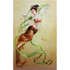 Su thêu DIY kit nhân vật thêu stitch quét Đôn Hoàng Feitian cổ tích nữ nữ rải rác hoa hiên sơn trang trí