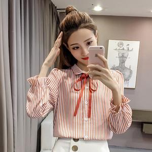 实拍2018新款韩木耳边长袖衬衫雪纺衫条纹衬衫蝴蝶结衬衣上衣女