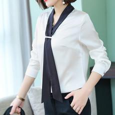 领带职业装衬衫 女韩范V领长袖白色重磅缎面衬衣新款春季时尚上衣