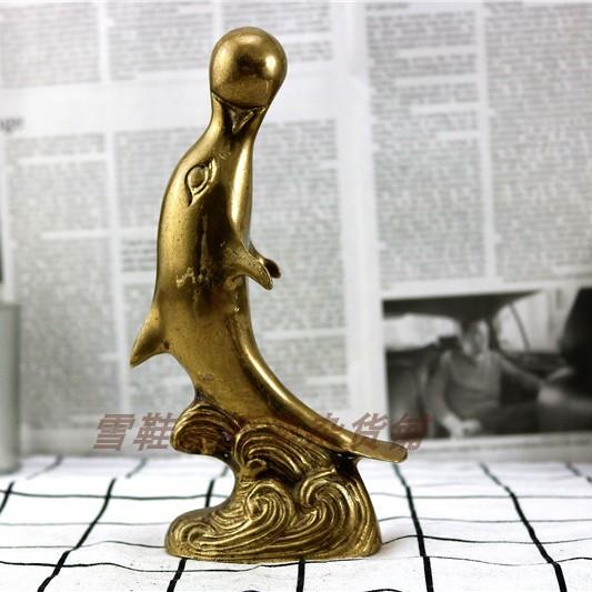 Đồng nguyên chất dolphin shape trang trí sử dụng Phương Tây old bronze hàng cũ Châu Âu Mỹ hàng hóa trở lại bộ sưu tập
