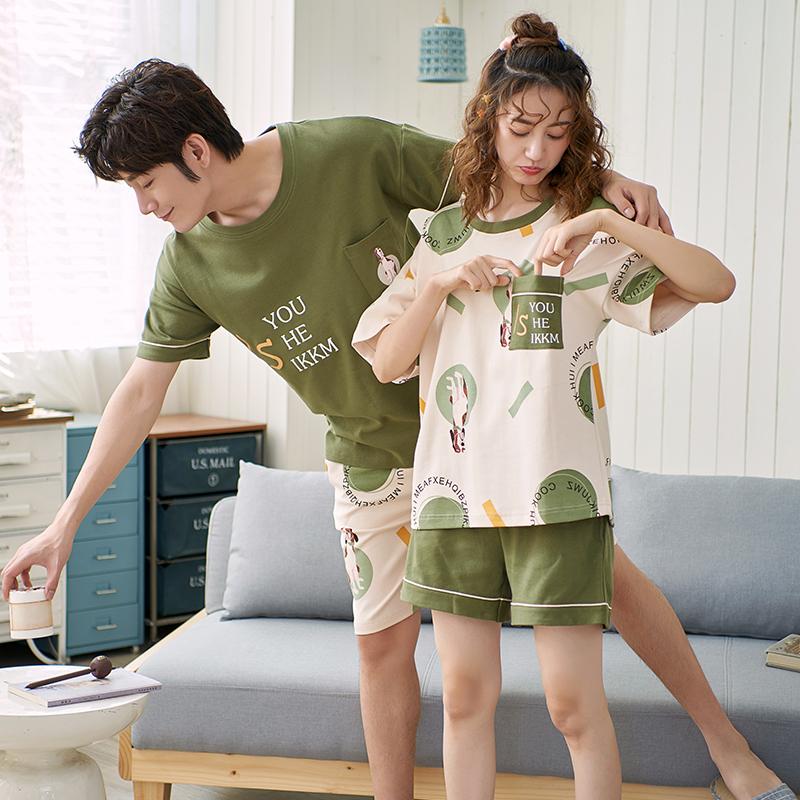 南极人情侣睡衣夏季短袖纯棉可爱睡衣女夏季家居服男短裤薄款套装