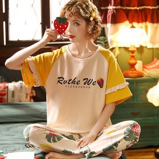 【网红风】夏季纯棉短袖长裤居家2件套