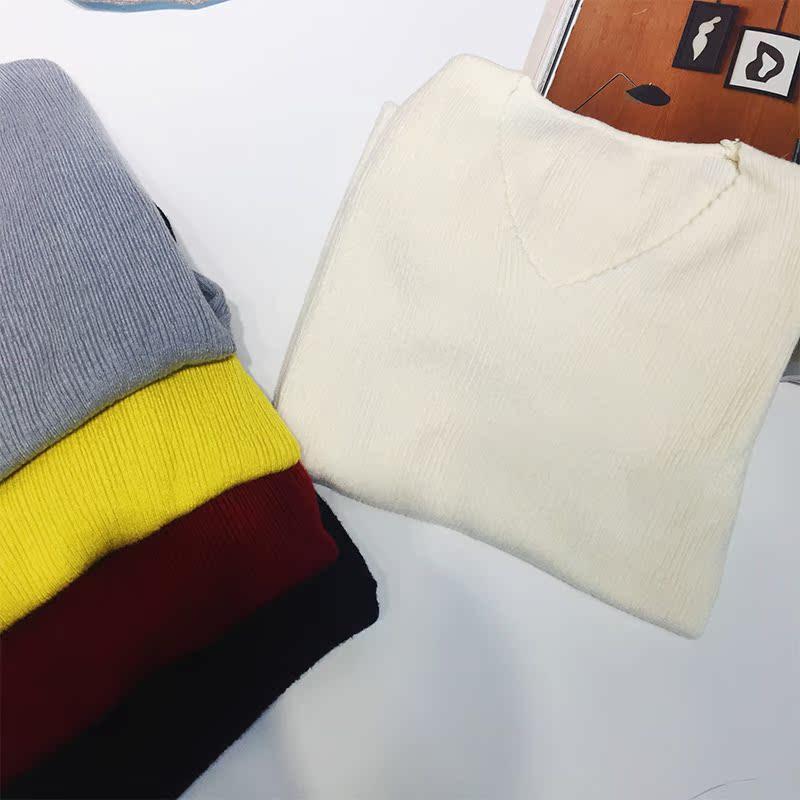 Hoa hậu Đồng giả 2018 mùa thu mới áo len dài tay cổ chữ v đáy áo len Mỏng hoang dã năm màu áo sơ mi