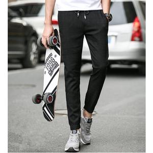 暗纹男士休闲裤弹力小脚裤男青少年夏季修身款提花韩版九分裤潮流