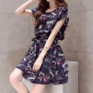 夏季新款韩版小清新棉麻短袖连衣裙女装收腰A字碎花裙子L201