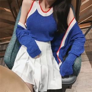 2018 net màu đỏ với phù hợp với phiên bản Hàn Quốc mỏng của áo khoác cardigan + đan áo + váy xếp li hoang dã một từ váy