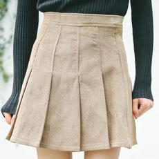 9954 实拍 韩版春夏新款 显瘦百搭压褶裙 海军风学生款 短裙子