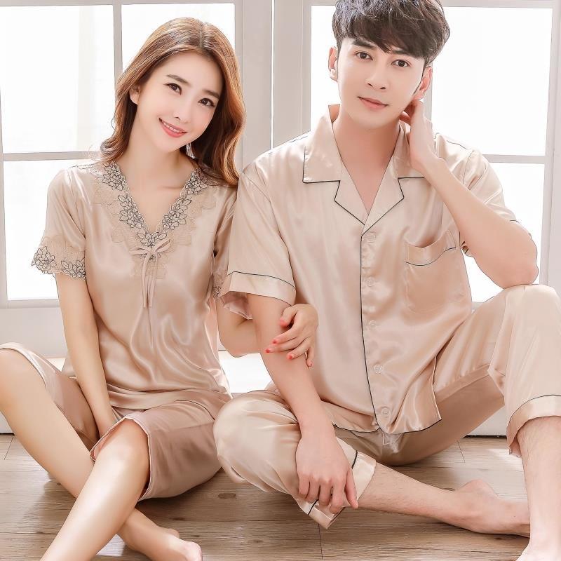 Mùa hè ngắn tay lụa vài đồ ngủ của phụ nữ băng lụa mùa xuân và mùa thu đồ ngủ nam Hàn Quốc phiên bản của kích thước lớn phần mỏng dịch vụ nhà