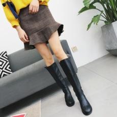 长靴女2017秋冬新款低跟复古骑士靴女粗跟机车靴女显瘦高筒靴