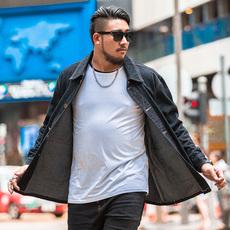 加肥加大码牛仔夹克休闲修身外套男青年纯棉上衣潮流胖子秋200斤