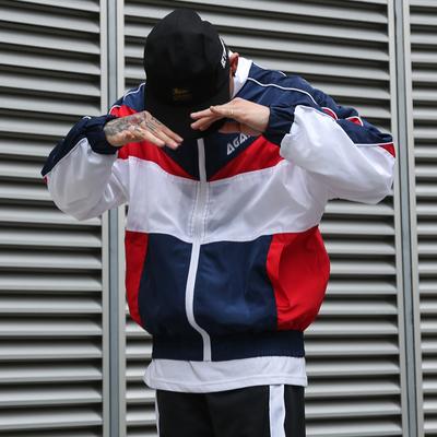 Châu âu và Mỹ đường phố hip hop retro cao đẳng màu dây kéo áo gió nam giới và phụ nữ các cặp vợ chồng hoang dã letters in jacket jacket Áo gió