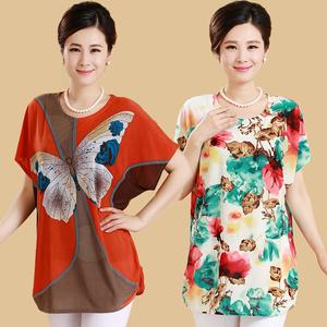 Đặc biệt hàng ngày trung và cũ tuổi của phụ nữ mùa hè lỏng chất béo mẹ nạp t- shirt kích thước lớn phụ nữ áo sơ mi ngắn tay áo sơ mi
