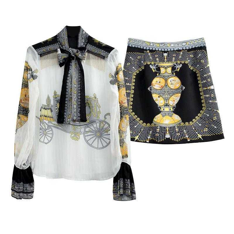 2020年新款女装洋气法式复古衬衫短裙