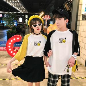 炒鸡好看 2018夏款港风情侣圆领时尚潮流班服 电商B212-KT194-P35